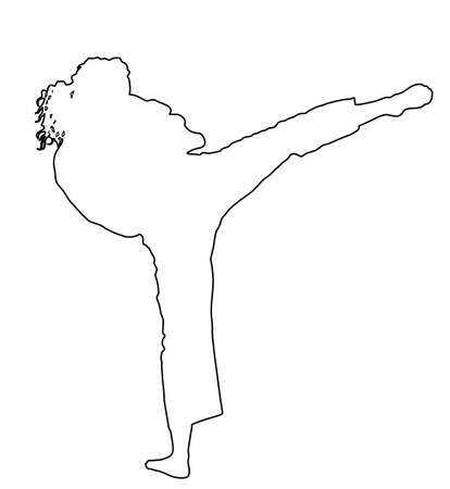 Karate woman fighter in uniform, a Karategi or gi, vector line contour silhouette. Japan traditional martial art. Girl in self defense presentation. Karate mom. Protect yourself against aggressor.