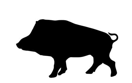 Warthog vector silhouette illustration isolated on white background. Bush Pig. Wild boar symbol. Boar isolated, warthog icon. Wild animals nature wildlife. Pumba hog. Иллюстрация