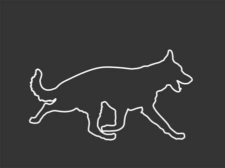 German Shepherd running dog vector line contour silhouette isolated on black. Man's best friend. Lovely pet. Dog show exhibition. Finder detect explosives and drugs. Rescue finding dog.