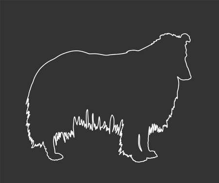 Portrait of Rough Collie vector line contour illustration isolated on black background. Scottish Shepherd dog. Beware of dog. Vettoriali