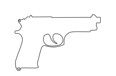 Pistol Gun line Vector contour silhouette isolated on white background. Risk in conflict situation. police and military weapon. Defense help option against enemy aggressor. Anti terrorism action.