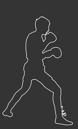 Boxer in ring line contour vector silhouette isolated on black background. Strong fighter. Direct kick. Sportsman sparing on training. Martial skills. Boxing sport spectacle event. Kick avoidance 일러스트