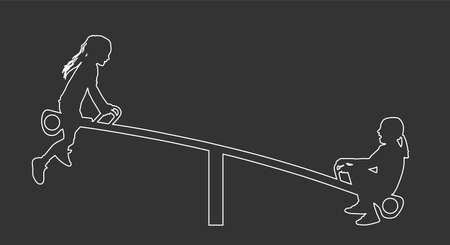 Children play on seesaw silhouette. Rocking chair climbing teeter vector. Happy kids fun in entertainment park. Girls after school. Friends outdoor recreation. Sisters swinging line contour Фото со стока - 152453312