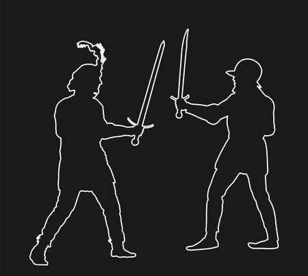 Knights in armor with sword fight vector line contour isolated. Medieval fighter in battle. Hero protects castle walls. Armed man defend honor of family and people. Protect country against enemy.