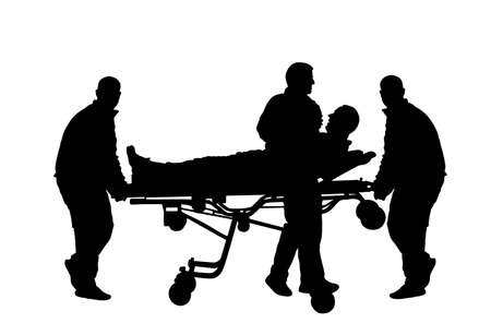 First aid crew help injured person after accident vector silhouette. Paramedics evacuate man by hospital stretcher trolley. Doctor helping people after body collapse. Health care lifeguard action.