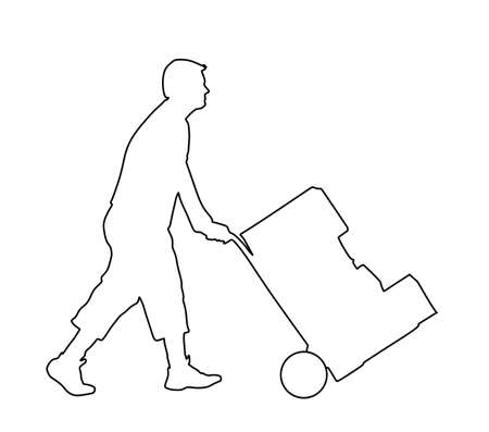 Delivery man carrying boxes of goods vector line. Post man with package. Distribution storehouse. Boy holding heavy load for moving service. Handy man move action. Hand transportation method by cart Ilustração