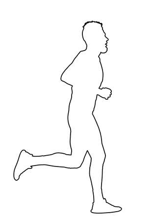 Marathon racer running line contour silhouette. Exercise people vector. Healthy lifestyle man. Sport race. Urban runner. Jogging after stressful work day. Health man run. Фото со стока - 152453316