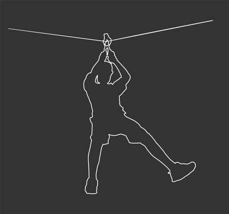Extreme sportsman took down with rope line. Man climbing vector contour isolated on black. Sport weekend zip line action in adventure park. Rope way for fun, team building. Rescue mission