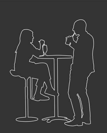 Couple in love on date sitting and talking vector. Friends drinking cocktail after work line contour. Night club guests urban life. Break relaxation dating after work in restaurant Иллюстрация