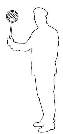 Railroader in uniform vector line contour. Railway man on duty. Platform controller at steam railway station. Railway worker traffic controller giving a signals to the train crew. Metro travel Ilustração