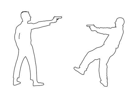 Public crime scene, gunfight battle. Man with gun shooting in opponent vector line contour silhouette. Conflict situation. Gun fire. police agent shutting against mafia member. policeman arrest