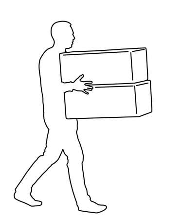 Delivery man carrying boxes of good vector line contour. Post man with package. Distribution storehouse. Boy holding heavy load moving service. Handy man move action. Hand transportation method