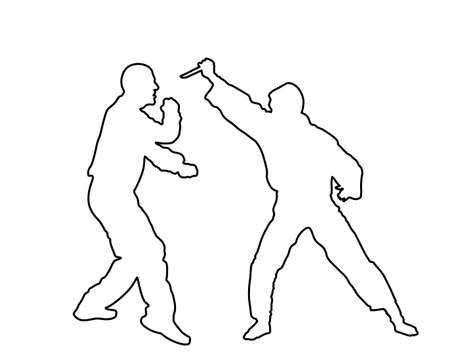 Self defense battle vector silhouette. Man fighting against aggressor with knife line contour. Karate real situation. Combat for life against terrorist. Army skill in action. Policeman arrest Vectores