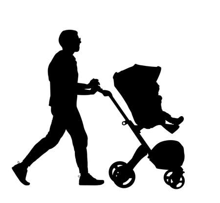 Father walking with baby in pram vector silhouette isolated on white background. Happy family values. Parent with baby in carriage. Fathers day. Man takes care of child. Фото со стока - 152453322
