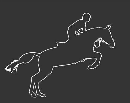 Elegant racing horse in gallop vector illustration isolated on white background. Jockey riding horse. Hippodrome sport event. Entertainment gambling. Equestrian rider in jumping over barrier show. Illusztráció