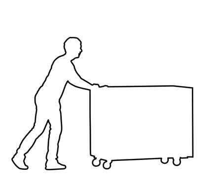 Delivery man carrying boxes of goods vector line contour. Post man with package. Distribution storehouse. Boy holding heavy load for moving service. Handy man move action. Hand transportation by cart.