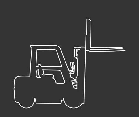 Forklift vector line contour silhouette, heavy loader. Cargo from warehouse to truck. Storage equipment racks, pallets with goods. shipping and transportation. Lift truck vehicle for construction site