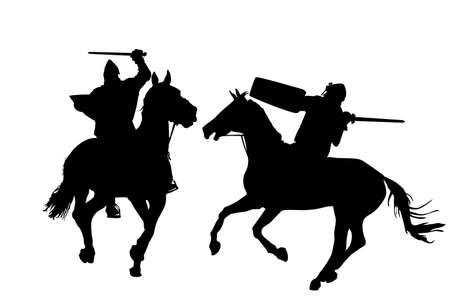 Knights in armor with sword and shield riding horse vector silhouette isolated. Horseman medieval fighters in battle. Cavalryman hero keeps castle walls. Calvary armed man defend country against enemy Ilustrace