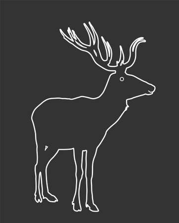 Deer vector line contour illustration isolated on white background. Reindeer, proud noble deer male. Powerful buck with huge antlers standing.
