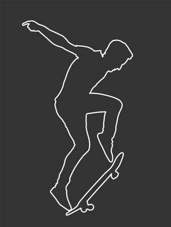Extreme sport game, skateboarder in skate park, air jump trick. Skateboard vector line contour silhouette isolated on black. Outdoor urban action. Sport accident. Injured athlete.