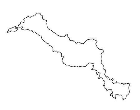 Greek island Euboea map vector line contour isolated on white background. Evia map silhouette, islan of Greece.