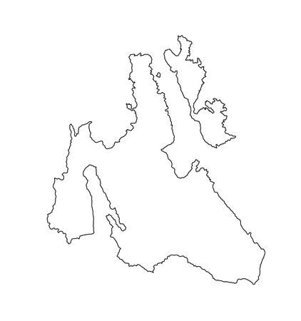 Island of Cephalonia in Greece vector map line contour silhouette illustration isolated on white background. Ithaki, Ithaca island map near the Cephalonia. Greek paradise Ionian islands. Фото со стока - 152703978
