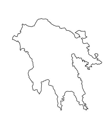 Peloponnese vector map line contour silhouette isolated on white background. Greek territory. Part of Greece coast line.