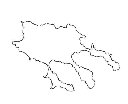 Greece Peninsula Chalkidiki vector map line contour silhouette isolated on white background. Greek territory Halkidiki coast line.