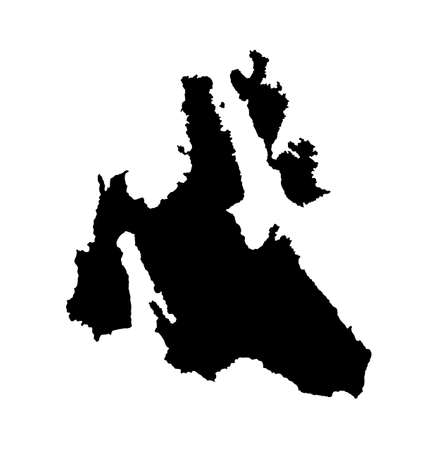 Island of Cephalonia in Greece vector map silhouette illustration isolated on white background. Ithaki, Ithaca island map near the Cephalonia. Greek paradise Ionian islands. Фото со стока - 152916894