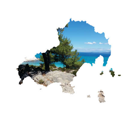 Landscape image of island of Skiathos in Greece map silhouette isolated on white background. Beautiful Greek beach and shore. Фото со стока - 152916896