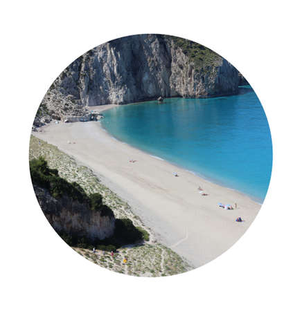 Beautiful paradise beach. Heaven from Greece coastline. Tourists travelers enjoy on long beach with clean water. Mediterranean sea vacation.  Milos beach, Lefkada.