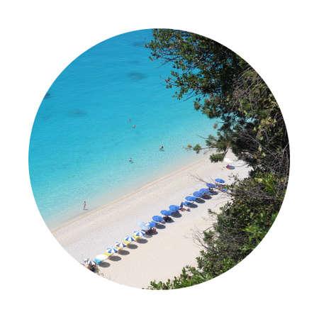 Beautiful paradise beach. Heaven from Greece coastline. Tourists travelers enjoy on long beach with clean water. Mediterranean sea vacation. Egremni beach, Lefkada.