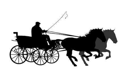 Horse carriages with coachman with whip in hand and two horses in gallop vector silhouette illustration isolated on white background. Wagoner in fast race. Фото со стока - 153641143