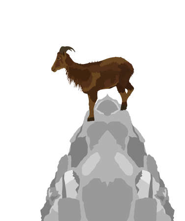 Mountain alps goat on rock on top of the hill vector illustration isolated on white background. Wild animal symbol.