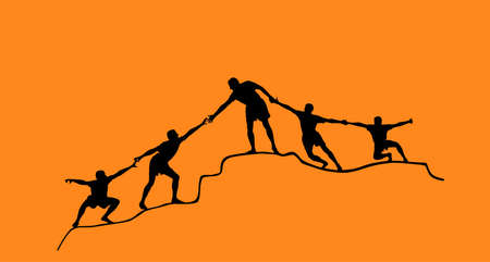 Climbers people human chain team building vector silhouette. Man help friends to climbing on top of hill. Together synergy concept. Evacuation after disaster. Cooperation, solidarity in hard situation Фото со стока - 153641476