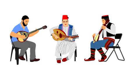 Greek, Turkish and Balkan folklore music trio. Bouzouki player and oriental Balgama, zurna with Serbian musician guslar on music instrument gusle. Folk artists. Arab man play oud, lute or mandolin.