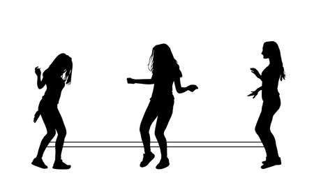 Handsome happy girls playing rubber band jumping game vector silhouette illustration isolated on white background. Woman recreation and exercise with elastic rope. Outdoor summer friends activity.