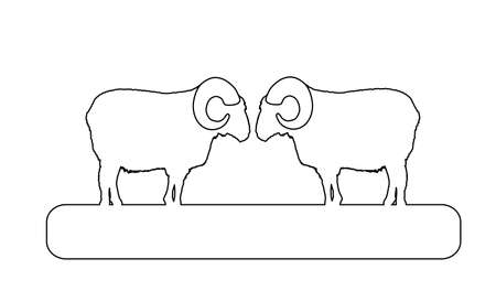 Two bighorn rams on chump fighting vector line contour illustration isolated on white background. Angry and stubborn animal battle. Rams sheep conflict over the wooden bridge.