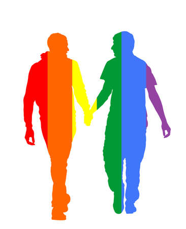Two homosexual boys walking and hand holding vector silhouette illustration. Handsome gay couple tenderness in public. Hand to hand closeness, man love male. Gay pride flag rights. LGBT concept. Illustration