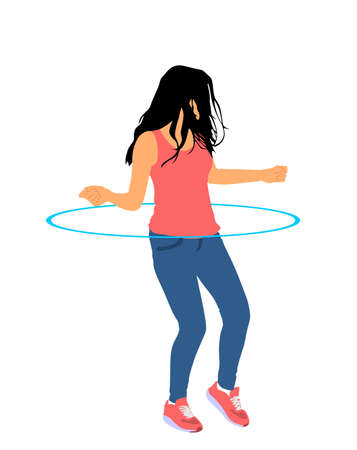 Attractive girl exercising with a  hoop vector illustration isolated on white background.
