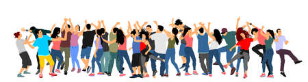 Party dancer people, girls and boys vector illustration isolated. Nightlife party concept with crew dancing. Disco club event. Birthday celebration. Teenagers in good mood. Fun and entertainment. Фото со стока - 153641638