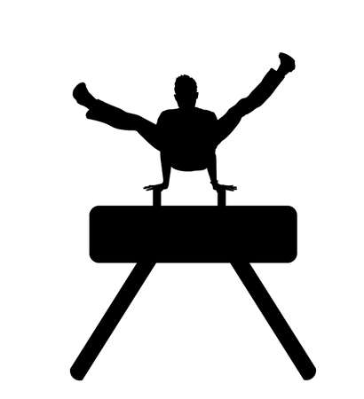 Gymnast on pommel horse vector silhouette illustration isolated on white background. Sport man artistic gymnastic performer. Athlete on gym equipment exercise.