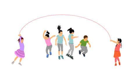 Happy joyful kids, little boys and girls doing exercises, skipping with jump rope vector illustration isolated on white. Funny game children jumping rope. Smiling child enjoy, daughter son play game Фото со стока - 153641065