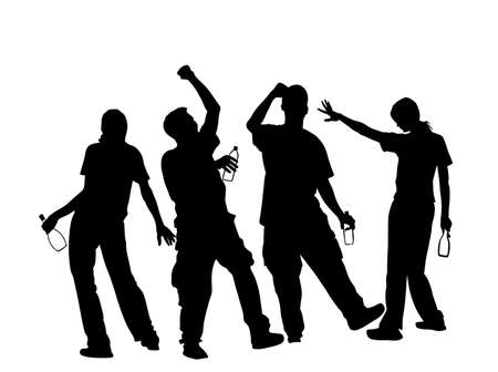 Drunk persons with alcohol bottles vector silhouette. Crew on party people music dancing. Friends celebrating birthday. Teenagers night life. Social problem drugs addict. Risk behavior with drinks. Фото со стока - 153641267