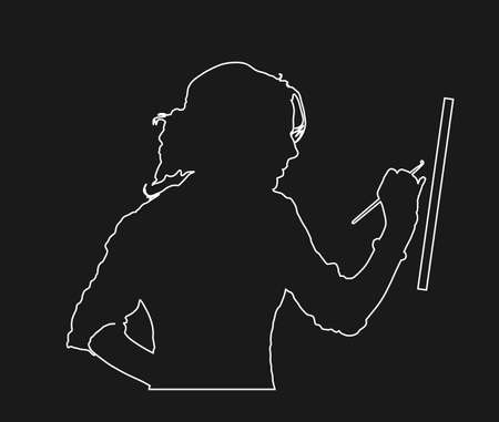 Creative pensive painter paints a picture vector line contour silhouette isolated on black background. Painting process in art workshop Positive artist woman painter paints in studio. Passionate work. Фото со стока - 153641553