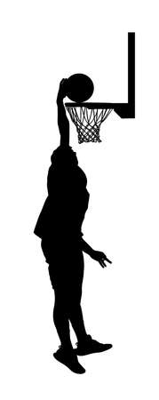 Basketball player stunt jumping and dunking silhouette isolated on white background. Basketball player making slam dunk vector illustration. Hoop and board vector silhouette illustration. Фото со стока - 153641231