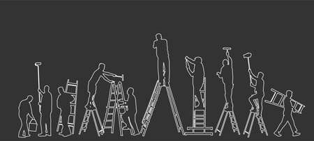 Painter workers on ladder vector line contour silhouette isolated. Man decorator painting wall with paint brush roller. Crew renovation home. Handyman move in job. Washing window cleaning service Иллюстрация