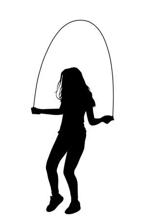 Sport girl skipping with jump rope vector silhouette. fitness instructor. Sport exercising and lifestyle concept. Athlete woman skipping rope. Fitness Workout. Healthy athletic lady workout fun in gym