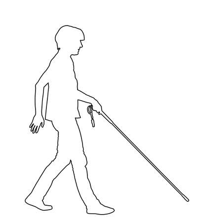 Blind person walking with stick vector line contour silhouette illustration isolated on white background.