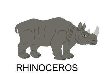 Rhinoceros vector illustration isolated on white background. Rhino, animal from Africa. Иллюстрация
